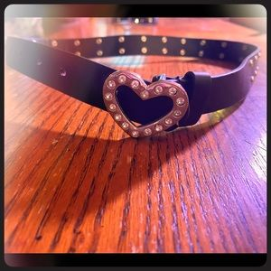 Girls black leather belt with bling heart buckle.